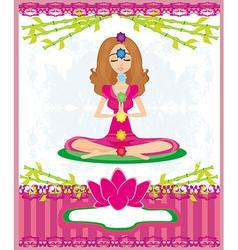 Yoga lotus pose padmasana with colored chakra vector