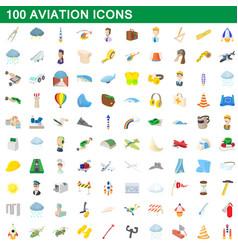 100 aviation icons set cartoon style vector image
