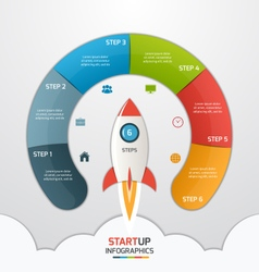 6 steps startup circle infographic with rocket vector