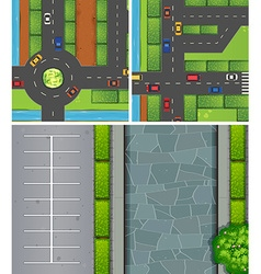 Aerial scenes of cars on roads and carpark vector