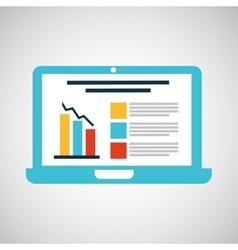 Cartoon laptop statistic information design vector