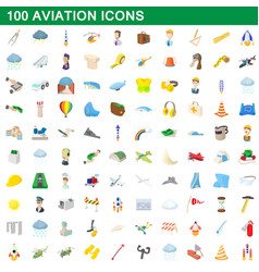 100 aviation icons set cartoon style vector