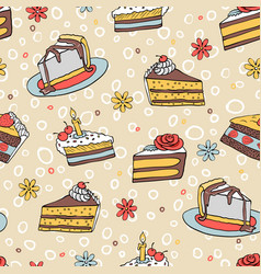 54-2 color piece of cake seamless pattern vector image