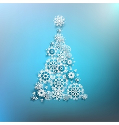 Paper christmas tree made from snowflakes eps 10 vector