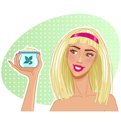 Girl with cream in hand vector image