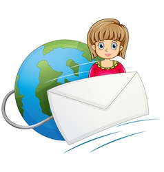 A lady in front of the globe with a mail vector
