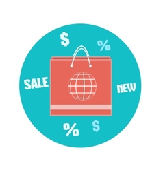 Paper shopping bag icon business concept vector
