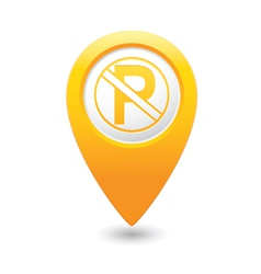 No parking icon on yellow pointer vector