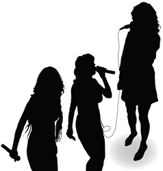Singing girl with a microphone black silhouette vector