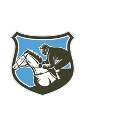 Jockey horse racing side shield retro vector