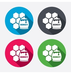 Honey in pot and honeycomb sign icon vector