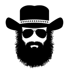Bearded man silhouette vector