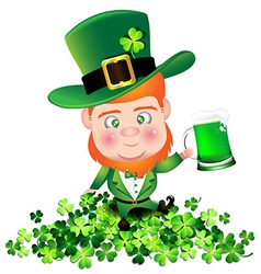 Irish man irish man hold beer on shamrock for st vector