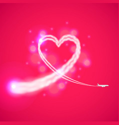 Trail of plane like heart background vector