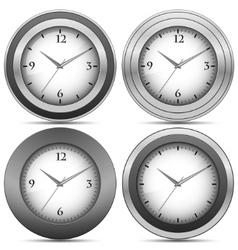 Chrome office clocks vector