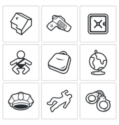 Child and weapons icons vector