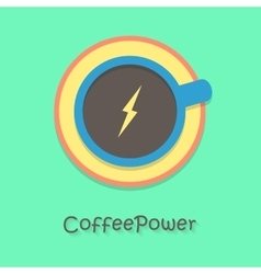 Coffee power with blue cup vector