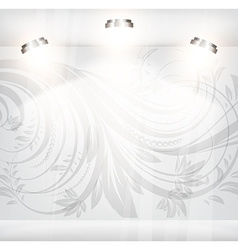 Empty storefront with floral seamless background vector