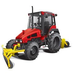 Compact snow tractor plow vector