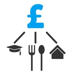 Pound consumption pattern flat icon symbol vector