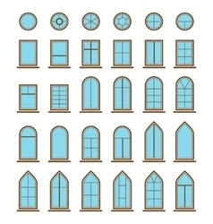 Set of different icons window and windowpane types vector