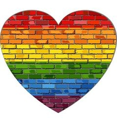 Lgbt flag on a brick wall in heart vector