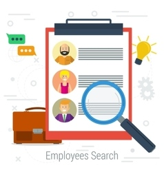flat concept employee search vector image