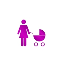 Woman with pram pictogram flat icon vector