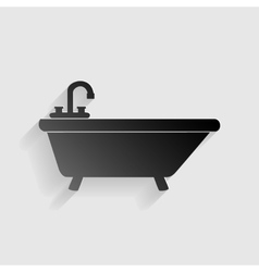 Bathtub sign  black paper with shadow vector