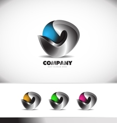 Abstract 3d logo design corporate business vector image vector image