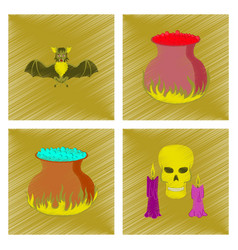 assembly flat shading style icon cute bat potion vector image vector image