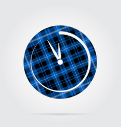 Blue black tartan icon - last minute clock vector