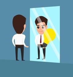 businessman see idea in the mirror vector image vector image