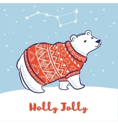 Card with a polar bear in red sweater vector image vector image