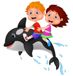Cartoon boy and girl riding orca vector