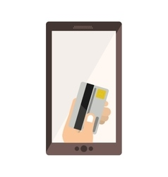 Cellphone with display with credit card in hand vector