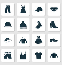 Clothes icons set collection of casual elegance vector
