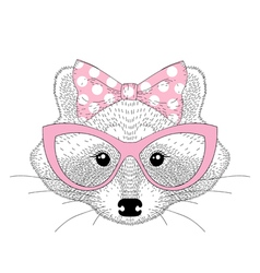 cute raccoon girl portrait with cat eyes glasses vector image vector image