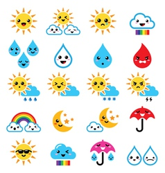 Cute sun rainbow moon rain and cloud - kawaii vector