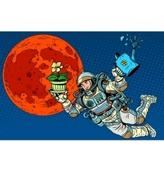 Ecology and science mars astronaut plants vector
