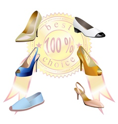 Fashionable womens shoes with sticker are on white vector image vector image
