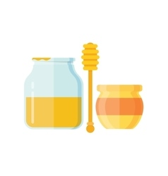 Glass jar of honey with wooden drizzler vector image vector image