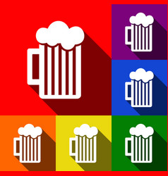 glass of beer sign set of icons with flat vector image