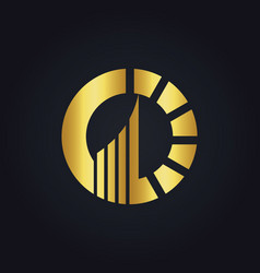 Gold business finance circle company logo vector