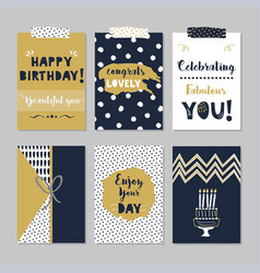 Golden and navy blue happy birthday mini cards set vector