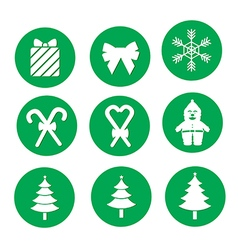 green Christmas icons vector image vector image