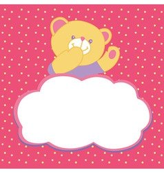 greeting card with teddy bear vector image vector image