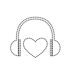 Headphones with heart black dashed icon vector