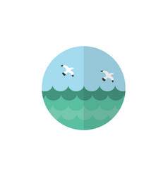 Isolated sea flat icon ocean element can vector