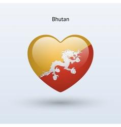 Love bhutan symbol heart flag icon vector